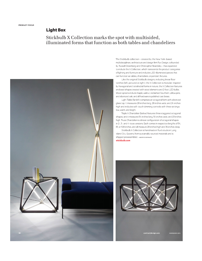 Stickbulb in Contract Magazine